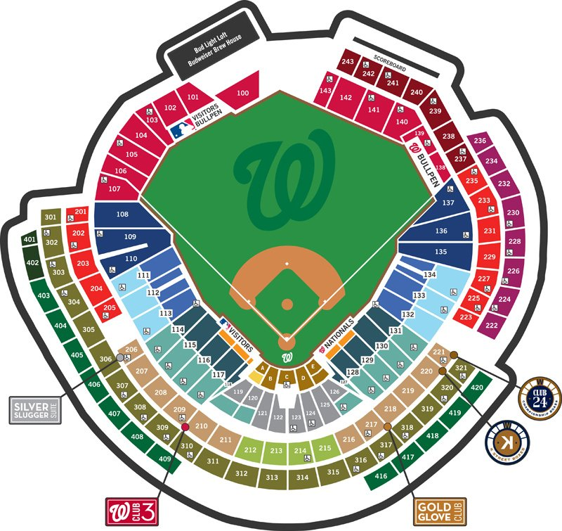 Seating chart to help you find the shade and sun at Nationals Park.